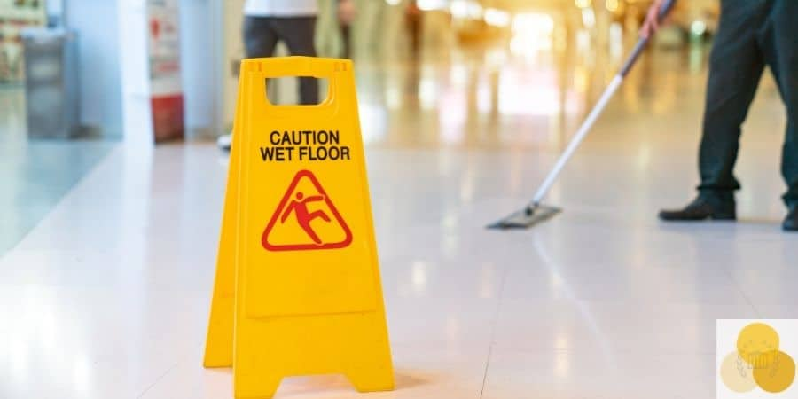 Premises liability and dangerous liability hazard sign not to slip