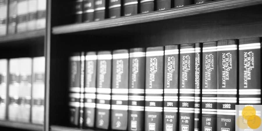 Law books in attorney office