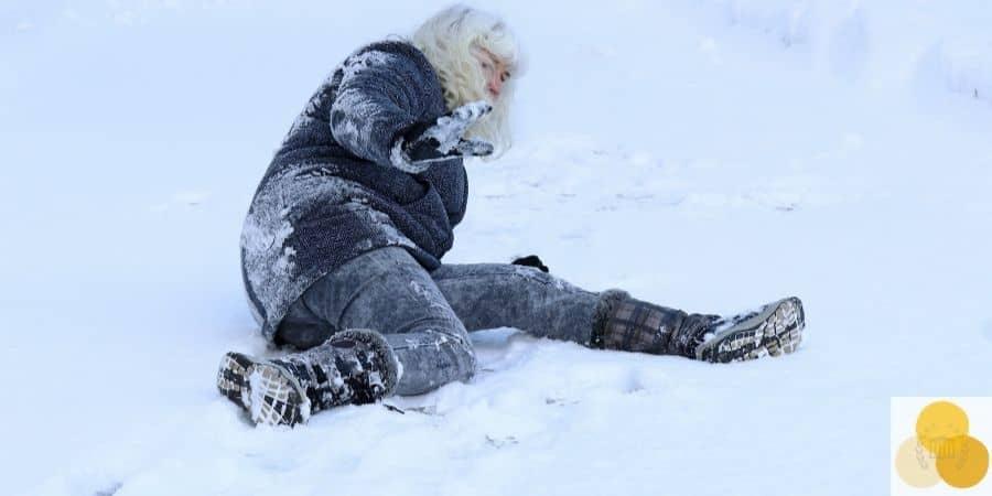 man fall in snow