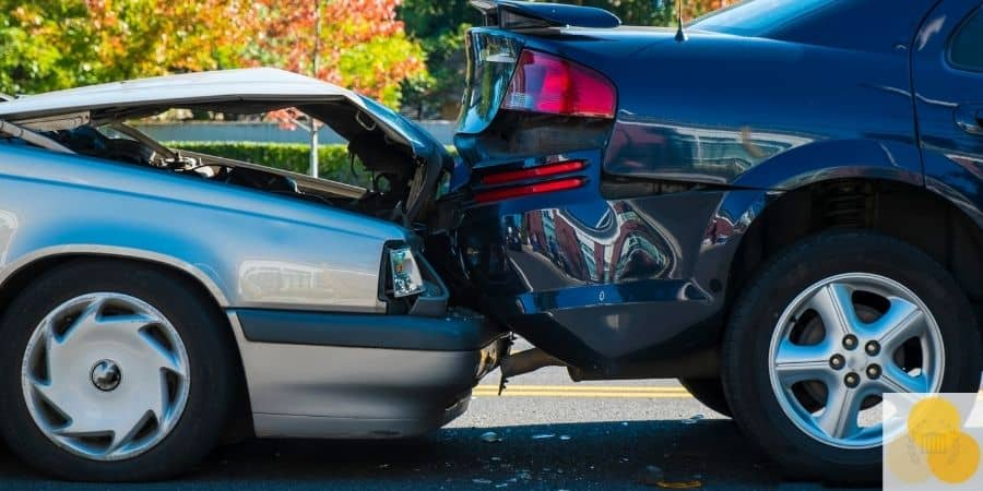 Vehicle injury up-close car crash