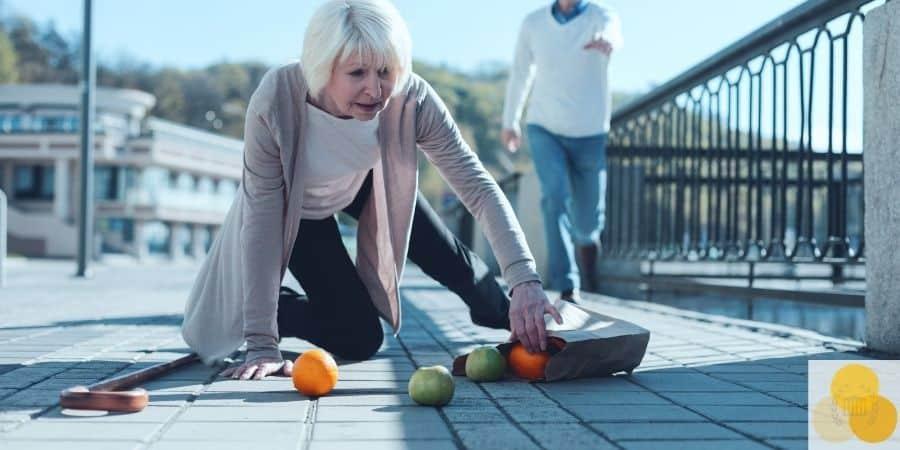 Woman slip and fall on boardwalk